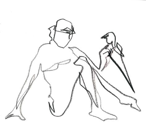 kurz davor_2016, Zeichnung auf Papier, 33 x 29,5 cm