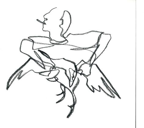 trophäentriumph_2016, Zeichnung auf Papier, 33 x 29,5 cm