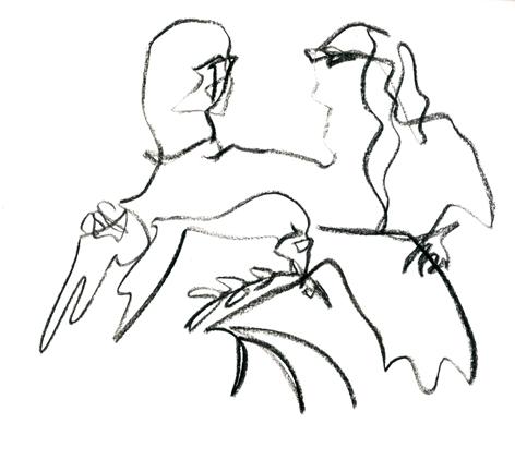 unentschieden_2016, Zeichnung auf Papier, 33 x 29,5 cm