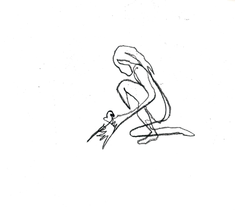 broken wing?_2016, Zeichnung auf Papier, 33 x 29,5 cm