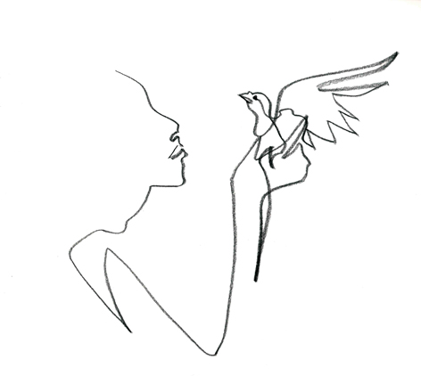 die taube in der hand_2016, Zeichnung auf Papier, 33 x 29,5 cm