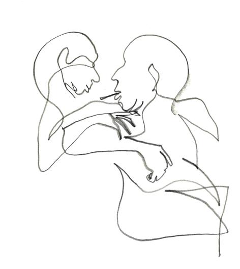 ein junger flirt am späten abend_2016, Zeichnung auf Papier, 29,5 x 33 cm